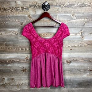 Free People Extreme Babydoll Lace Tunic Top Blouse